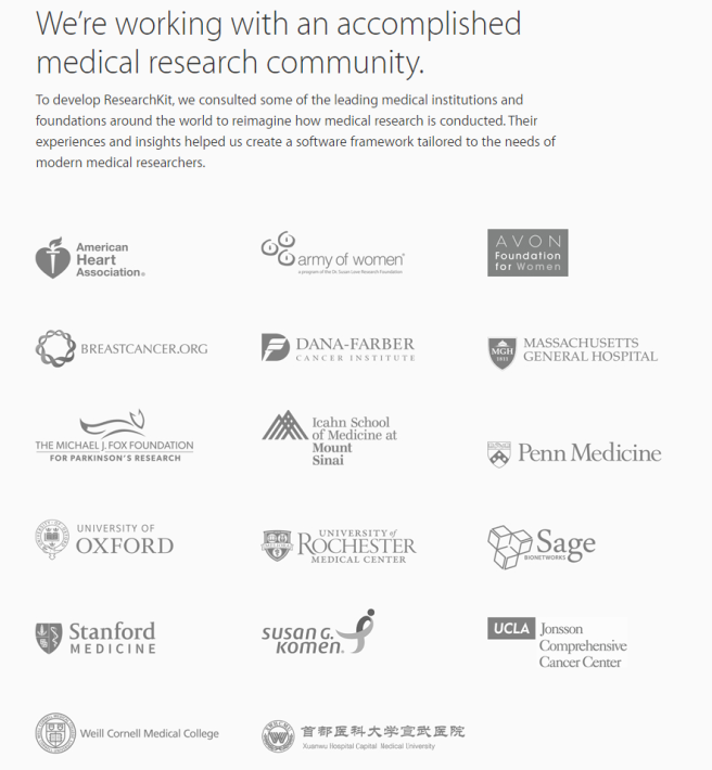 AppleResearchKitMedicalPartners